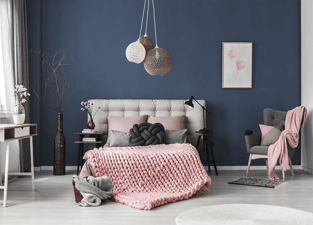 Blue and pink bedroom landscape interior