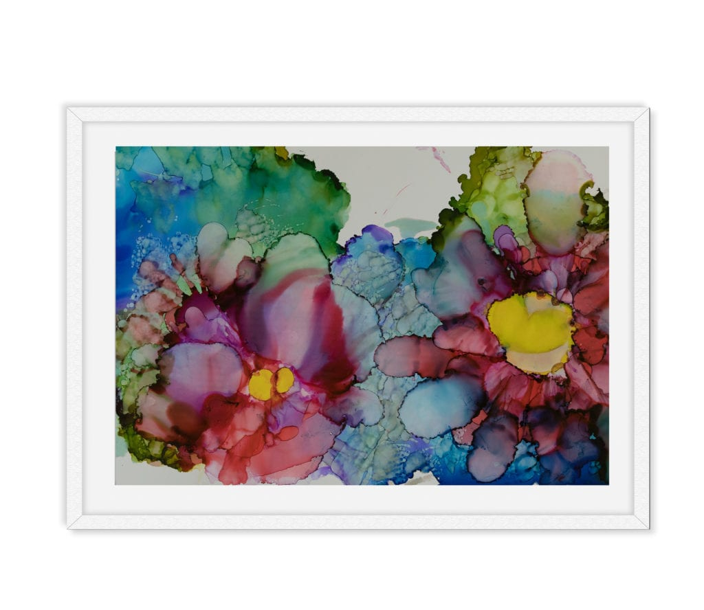 Stained Glass Lillies White Frame