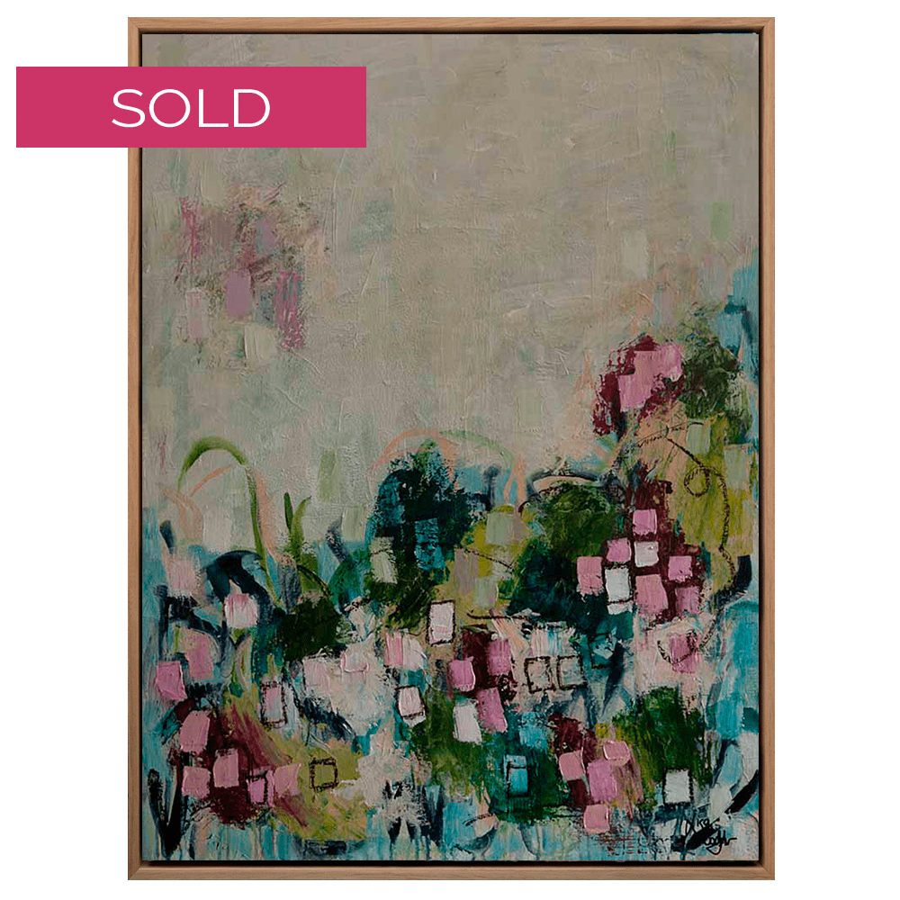 SOLD Wildflowers Oak Floating Frame Low Res Web