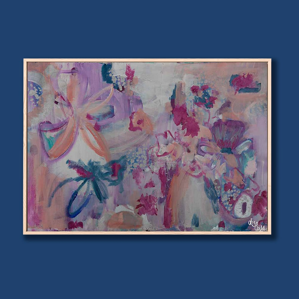 Boysenberry Delight Floating Frame Blue Background