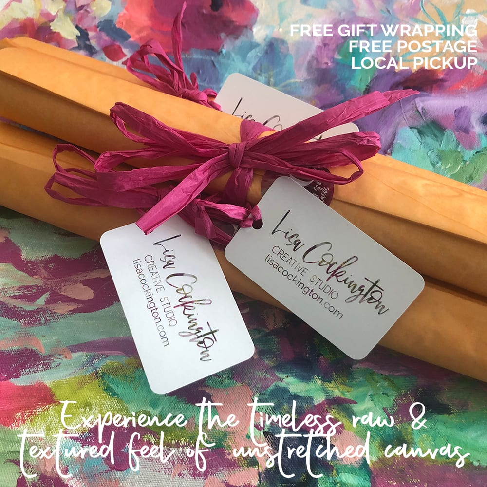 Unstretched Canvas Gift Packaging with Text