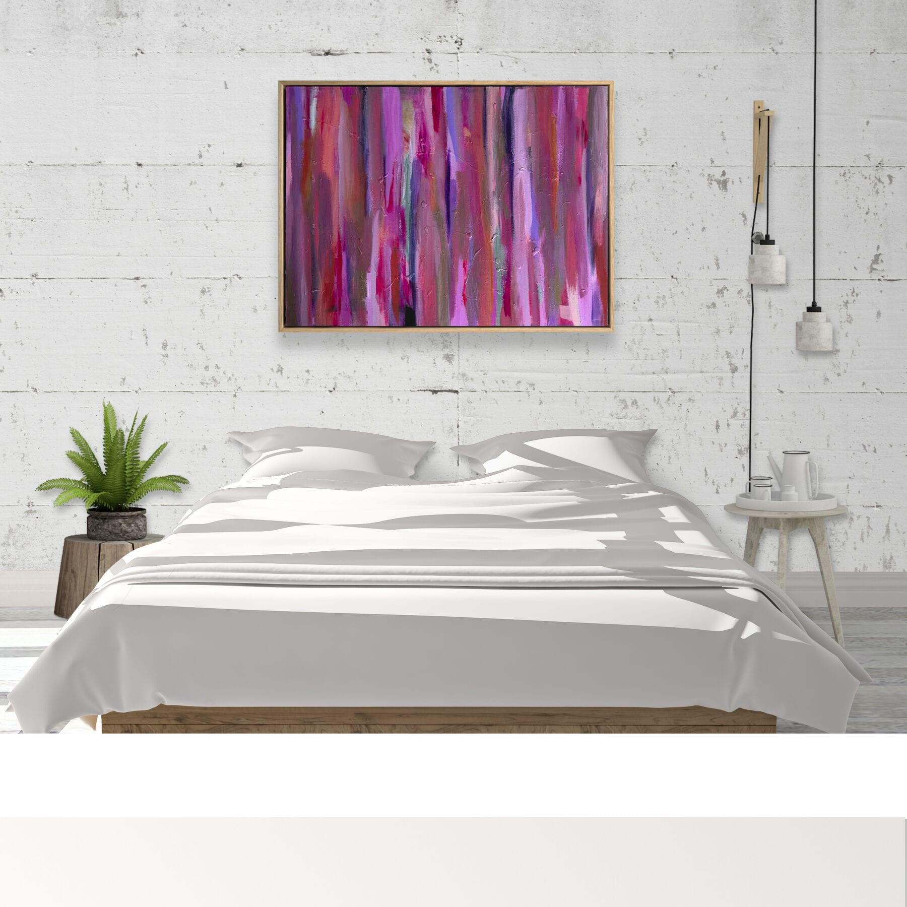 Pink Fiesta LifestyleWhite Bed Concrete Wall