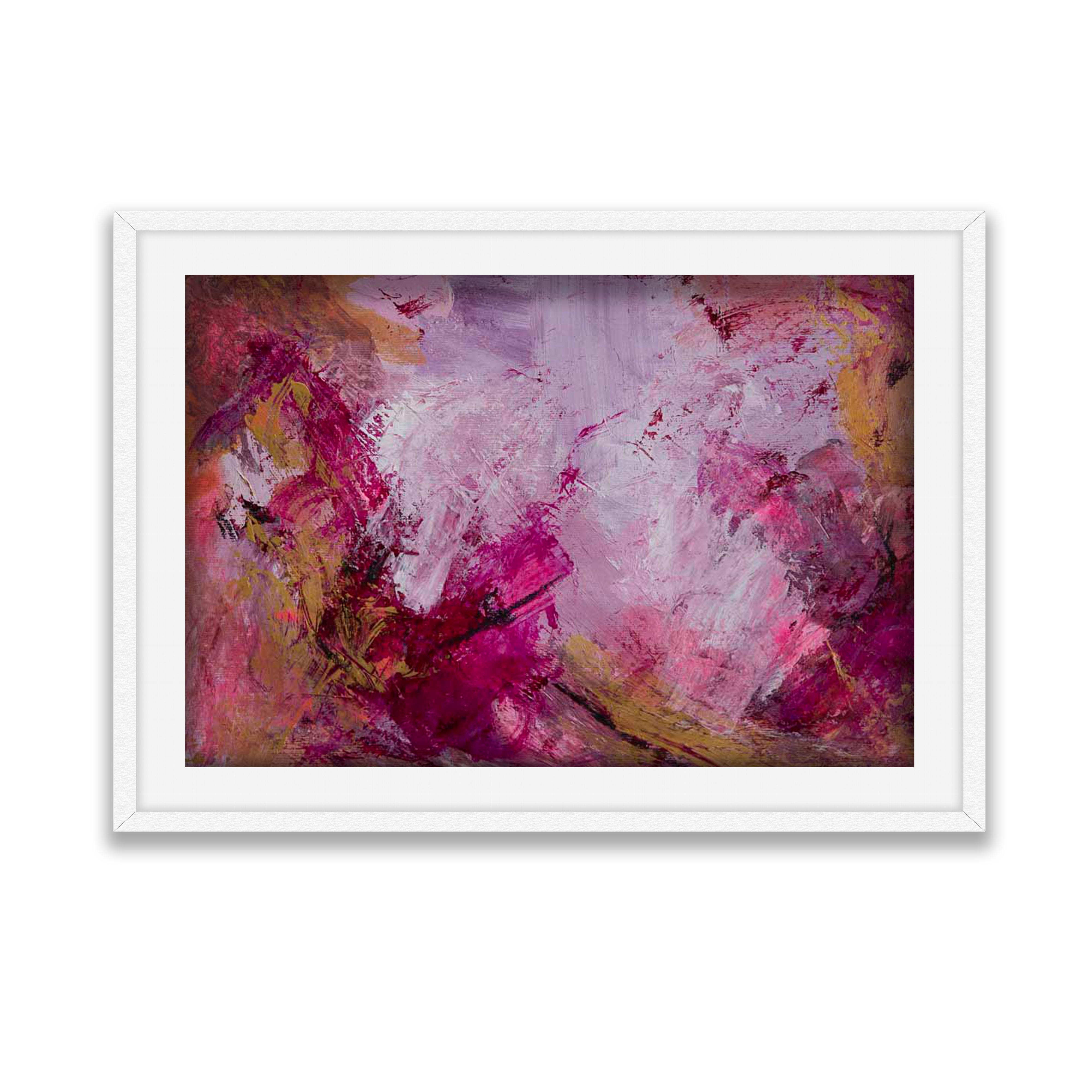 Blissfully PinkWhite Frame on White Background
